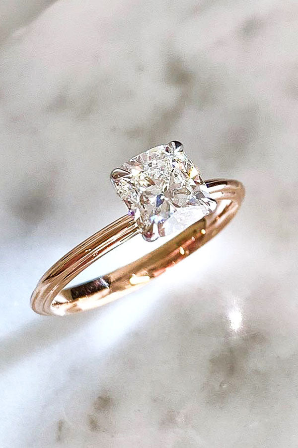 Cushion Cut Solitaire Engagement Ring in Rose Gold