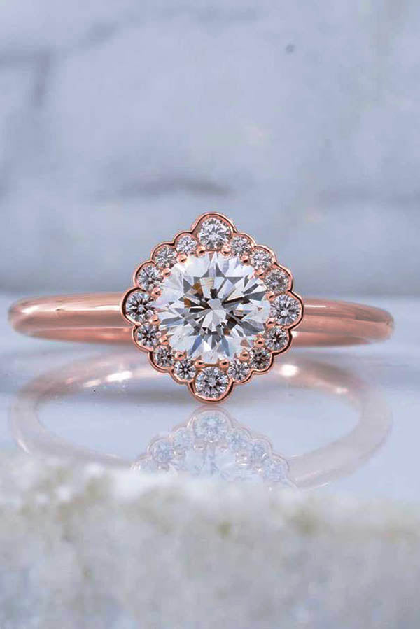 Round Cut Diamond Engagement Ring with Bezel Set Accents