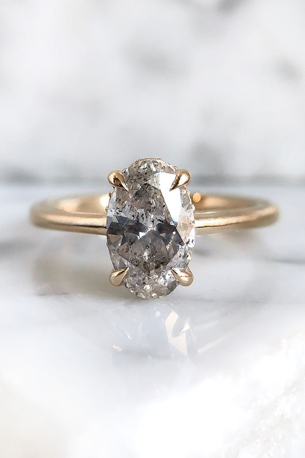 Salt and Pepper Engagement Ring with an Oval Solitaire