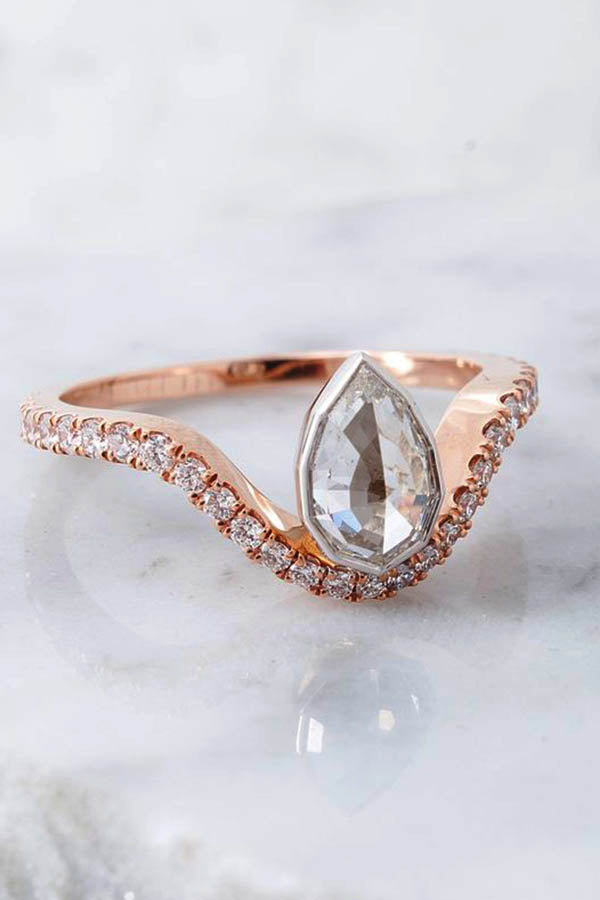 Geometric Pear Shaped Engagement Ring with Arched Band