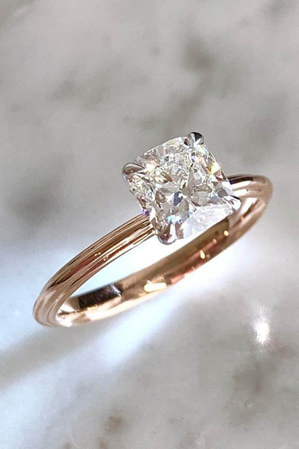 Cushion Cut Solitaire Engagement Ring with a Slim Band
