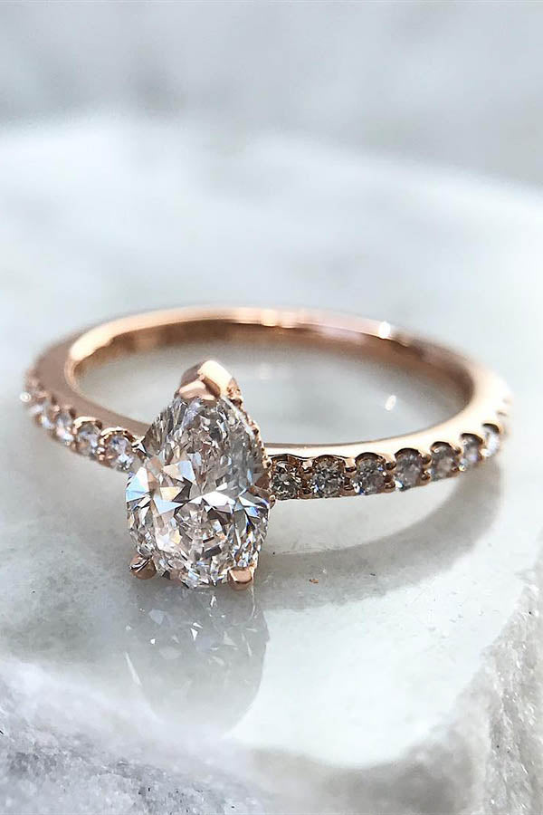 Pear-Shaped Engagement Ring with Pave Set Band