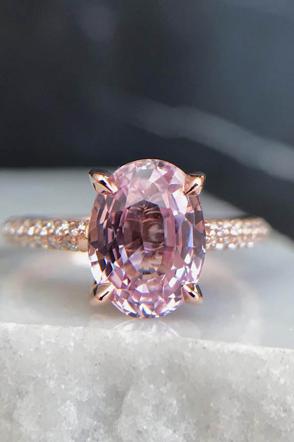 Oval-Cut Pink Sapphire Engagement Ring