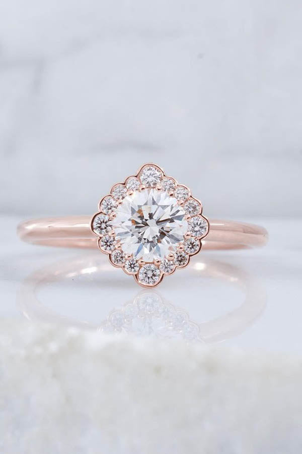 Delicate & Detailed Rose Gold Engagement Ring