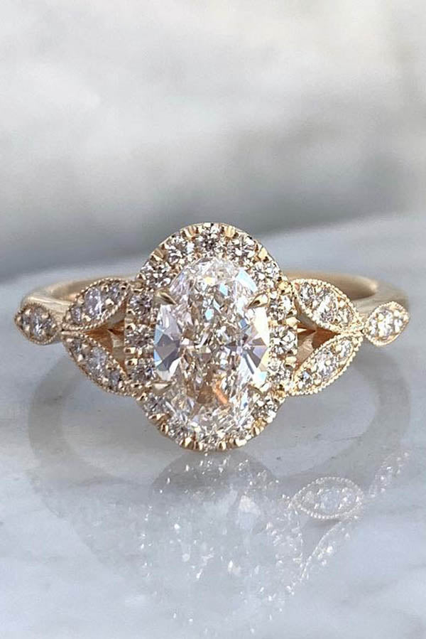 Oval Cut Floral Halo Engagement Ring