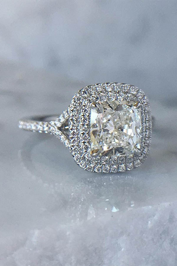 French Cut Double-Halo Engagement Ring