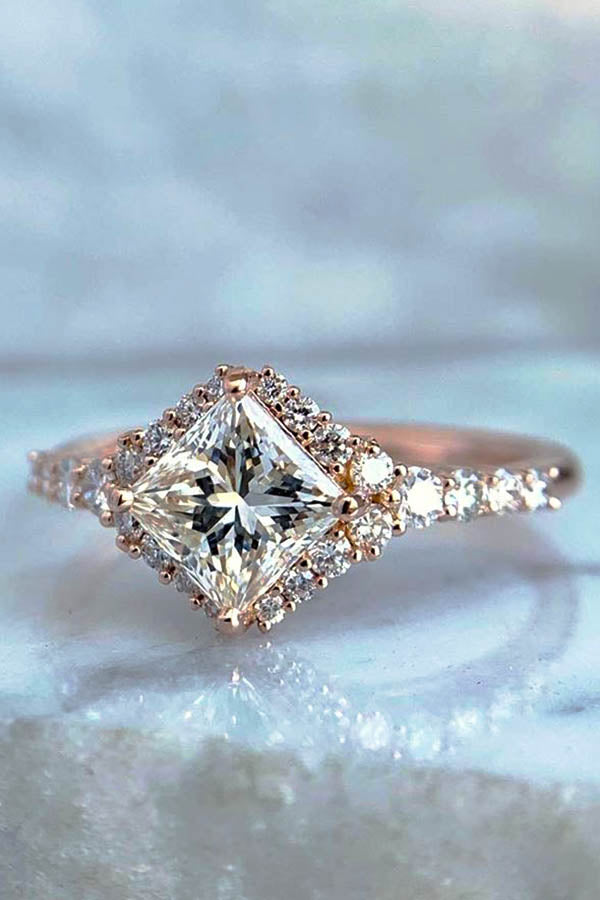 Turned Princess Cut Engagement Ring with Halo
