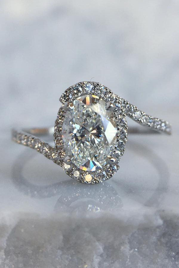 Bypass Oval Engagement Ring with Pave Band