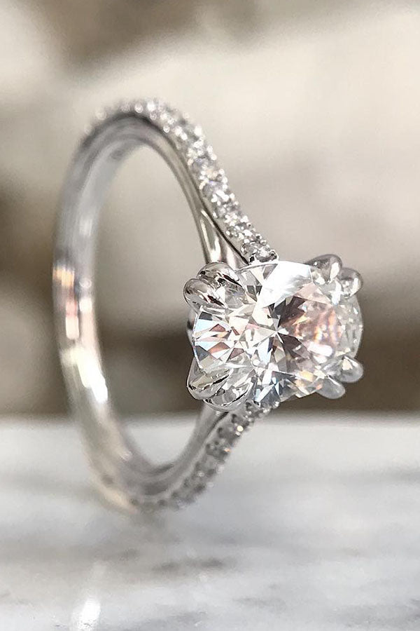 Double-Claw Oval Pave Diamond Ring