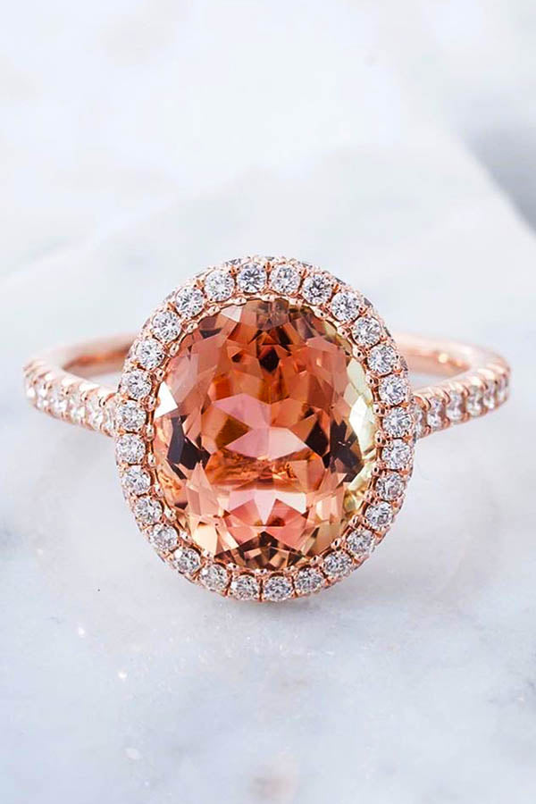 Peach Tourmaline Engagement Ring with Halo