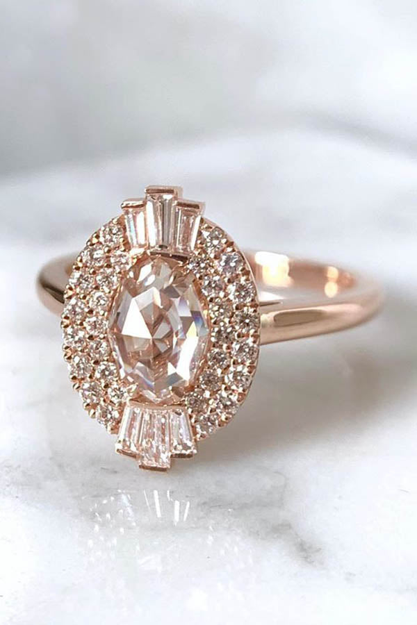 Art Deco Engagement Ring with Geo Cut Oval Diamond