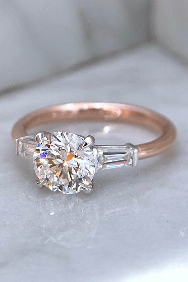 Round Diamond with Tapered Baguettes