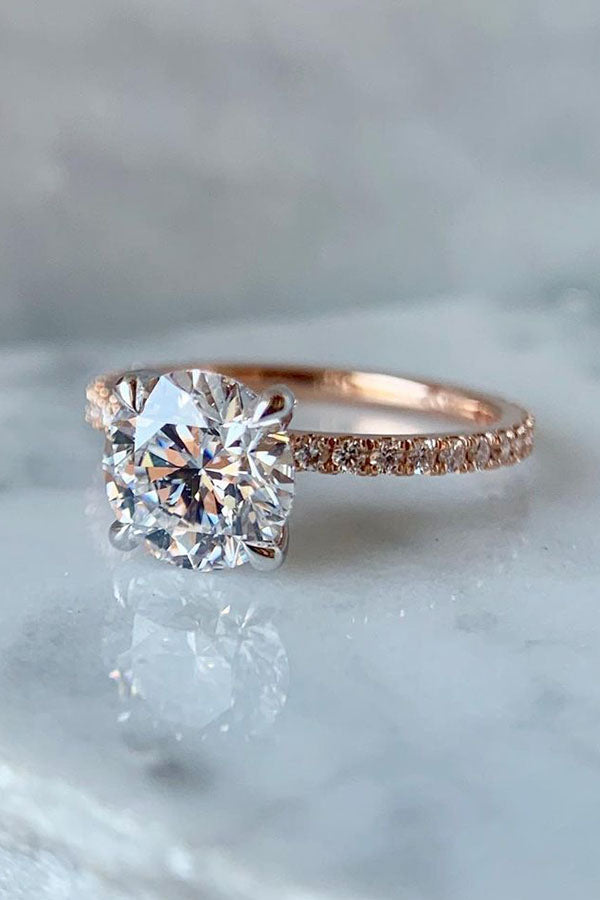 Pave Round Solitaire Engagement Ring