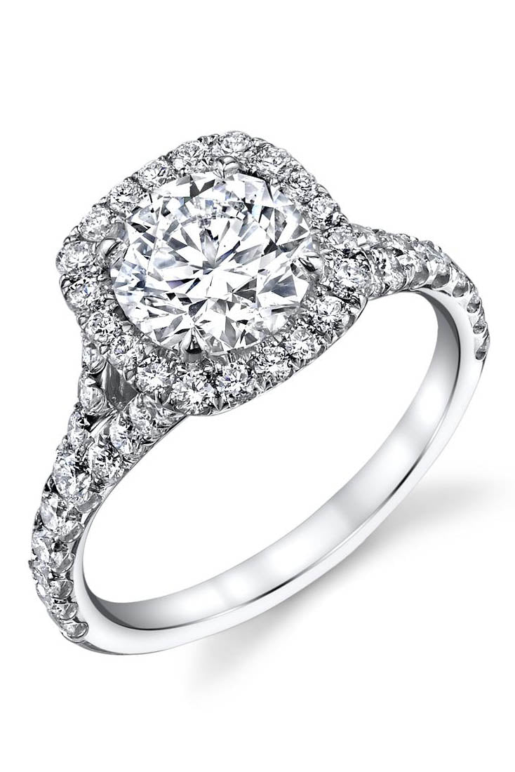 Cushion Cut with Halo & Split Pave Shank