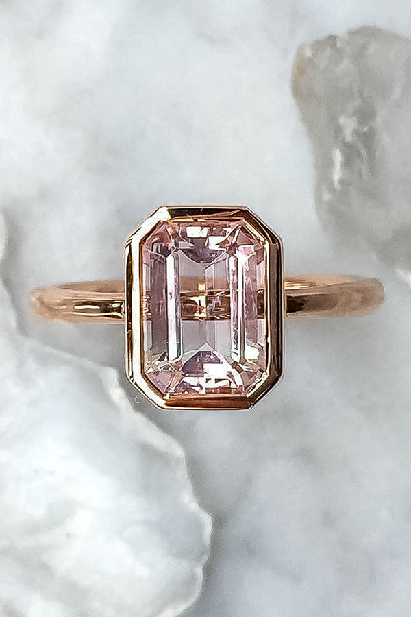 Pink Tourmaline Engagement Ring with a Bezel