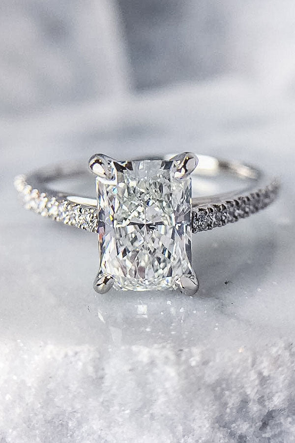 Radiant Cut Pave Band Engagement Ring in White Gold