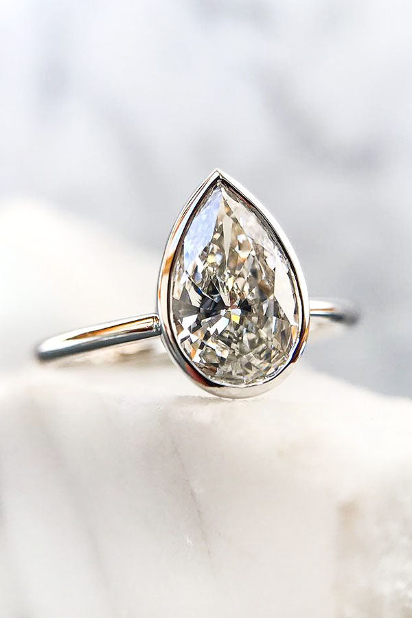 Pear Shaped Engagement Ring Bezel Set in Rose Gold