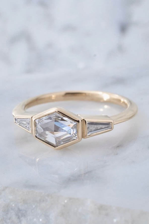 Geometric Rose-Cut Diamond Engagement Ring with Tapered Baguettes
