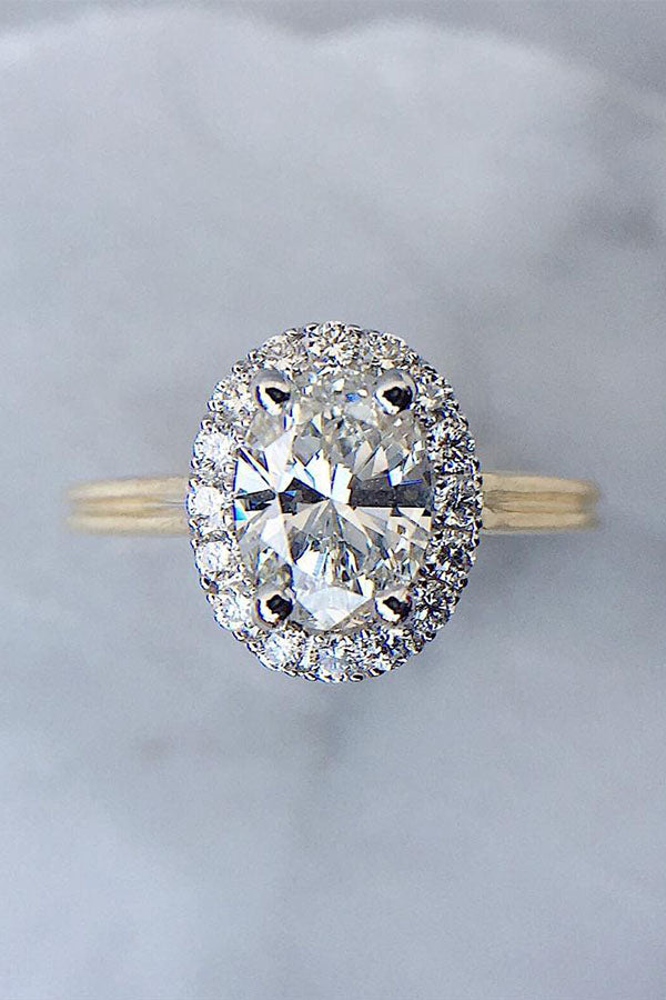 Oval-Cut Single-Halo Engagement Ring