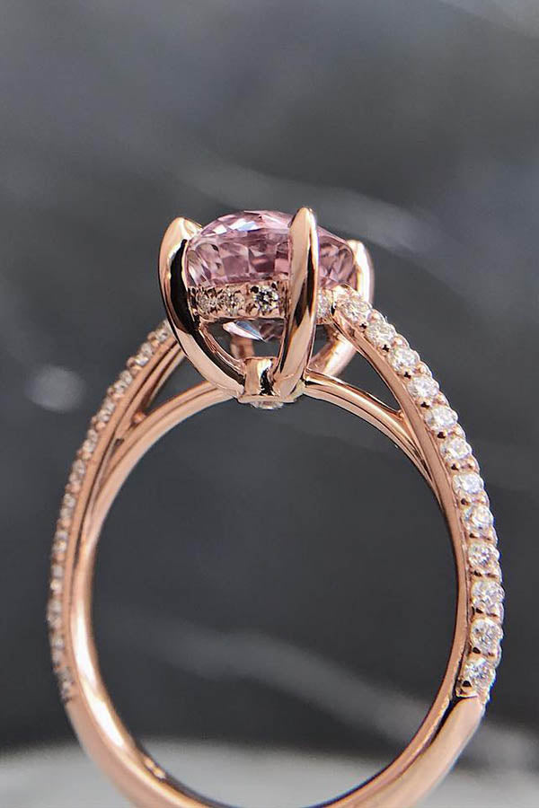 Pink Sapphire with Pave Cathedral