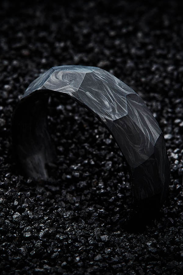 Faceted Forged Carbon Fiber Wedding Band