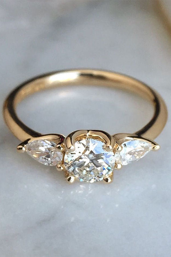Three-Stone Engagement Ring with Pear-Shaped Side Stones