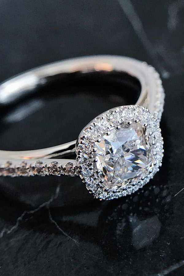 Single-Halo Cathedral Cut Engagement Ring