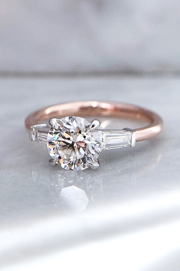 Round Diamonds with Baguette Diamond Three Stone Engagement Ring