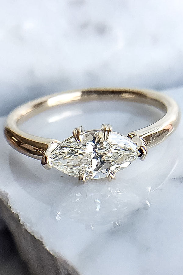 East West Marquise Diamond Solitaire Engagement Ring in Rose Gold