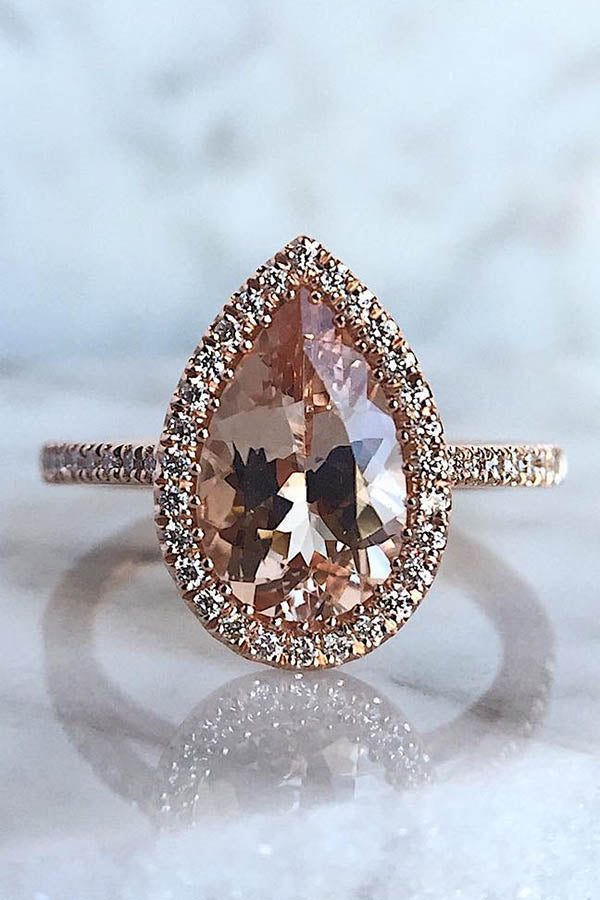 Pear-Shaped Morganite Engagement Ring with Halo