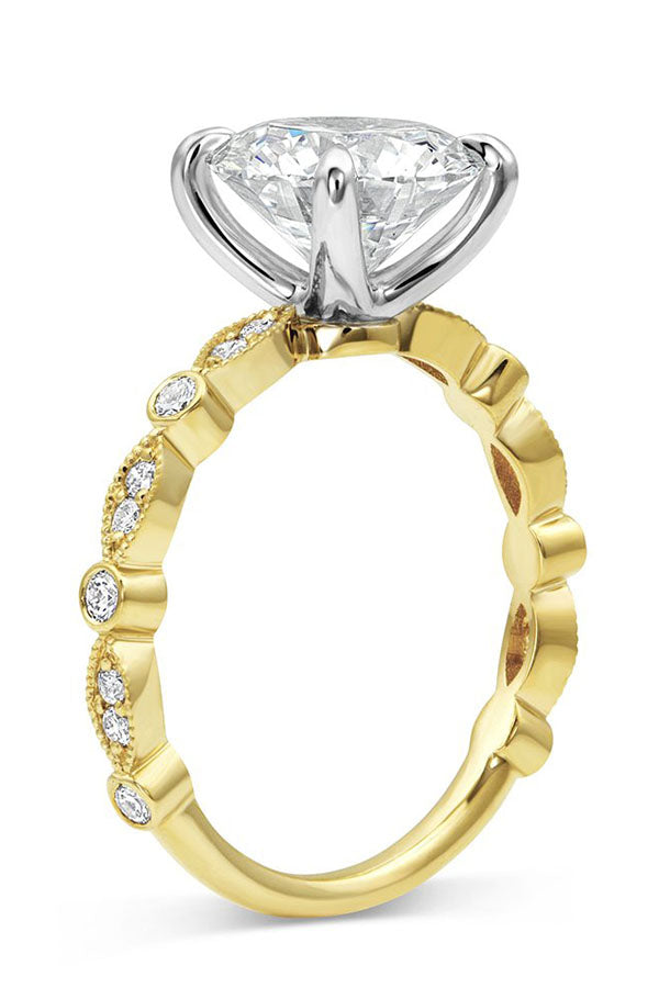 Bead and Eye Round Solitaire Engagement Ring