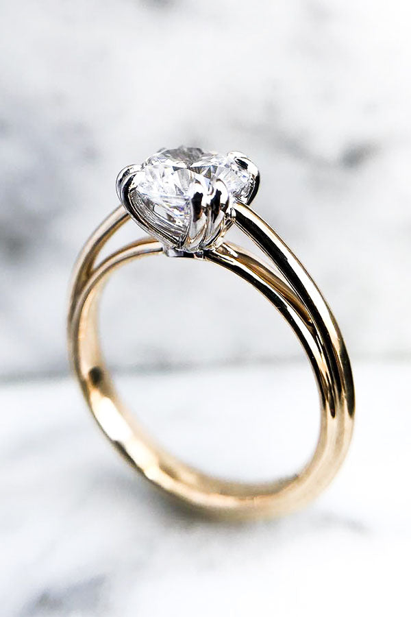 Round Solitaire Cathedral Engagement Ring