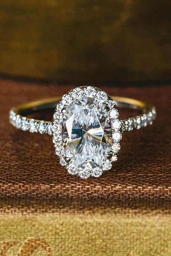 Oval Halo Cathedral-Cut Engagement Ring