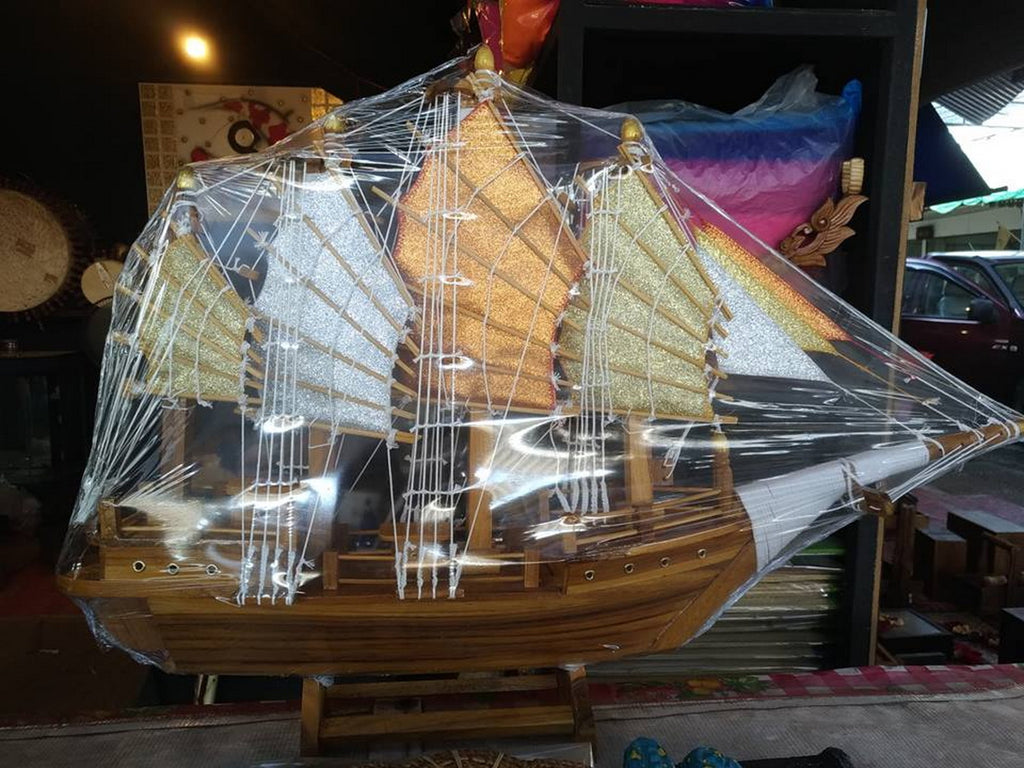 Carved Wood SHIP Decor Home