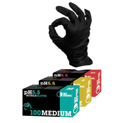Gloves Black Nitrile Medium (100 / Box)