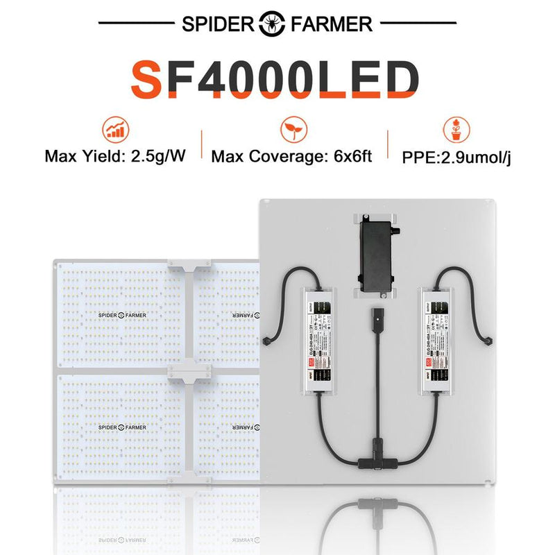 Spider Farmer SF4000 LED Grow Light, New 2020 version with dimmer knob included  ( Ships in 5-7 business days )