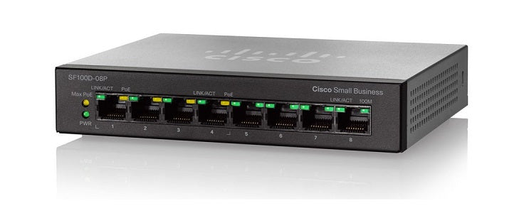 SF110D-08HP-NA Cisco SF110D-08HP Unmanaged Small Business Switch, 8 Port 10/100 PoE (Refurb)