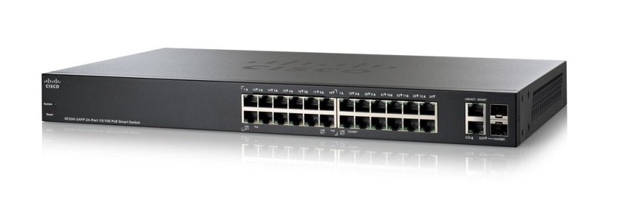 SF200-24FP-NA Cisco SF200-24FP Small Business Smart Switch, 24 Port 10/100 PoE (Refurb)