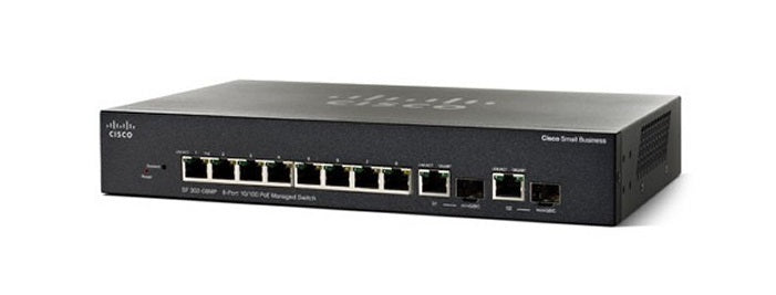 SF352-08MP-K9-NA Cisco Small Business SF352-08MP Managed Switch, 8 10/100 and 2 Gigabit SFP Combo Ports, 128w PoE (Refurb)