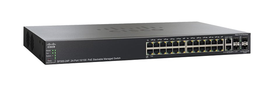 SF500-24MP-K9-NA Cisco SF500-24MP Stackable Managed Switch, 24 10/100 PoE+ and 4 Gigabit Ethernet Ports, 370w PoE (New)