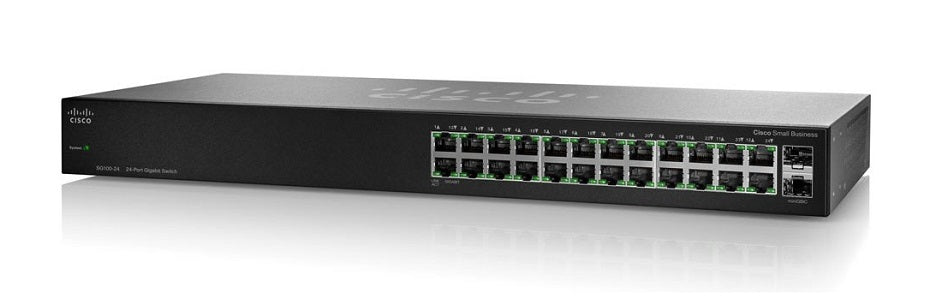 SG110-24-NA Cisco SG110-24 Unmanaged Small Business Switch, 24 Gigabit/2 Mini GBIC Ports (Refurb)