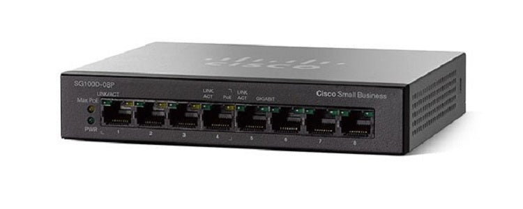 SG110D-08-NA Cisco SG110D-08 Unmanaged Small Business Switch, 8 Port Gigabit (Refurb)