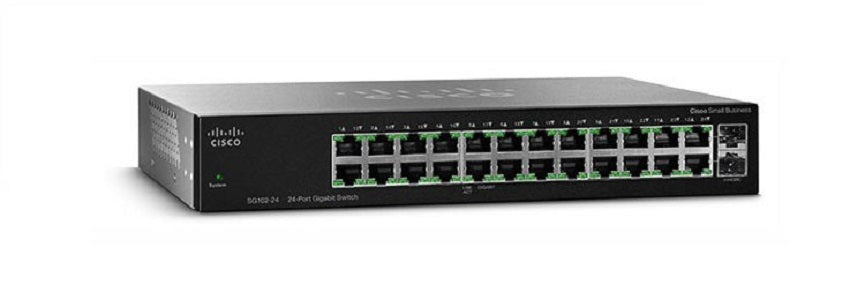 SG112-24-NA Cisco SG112-24 Unmanaged Small Business Switch, Compact 24 Gigabit/2 Mini GBIC Ports (Refurb)
