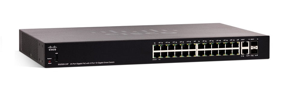 SG250X-24P-K9-NA Cisco SF250X-24P Smart Switch, 24 Gigabit/4 10 Gigabit Ports, PoE (New)