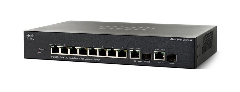 SG300-10MPP-K9-NA Cisco Small Business SG300-10MPP Managed Switch, 8 Gigabit/2 Mini GBIC Combo Ports, 124w PoE (Refurb)