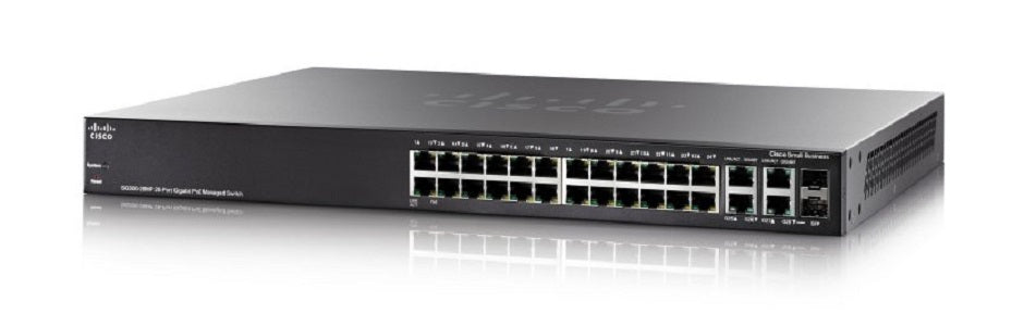 SG300-28MP-K9-NA Cisco Small Business SG300-28MP Managed Switch, 26 Gigabit/2 Mini GBIC Combo Ports, 375w PoE (New)
