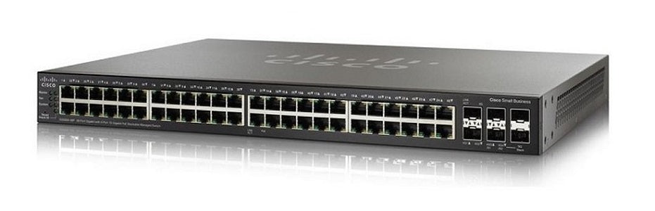 SG350X-48P-K9-NA Cisco SG350X-48P Stackable Managed Switch, 48 Gigabit PoE+ with 2 10Gig/10Gig SFP+ Combo and 2 SFP+ Ports, 382w PoE (Refurb)