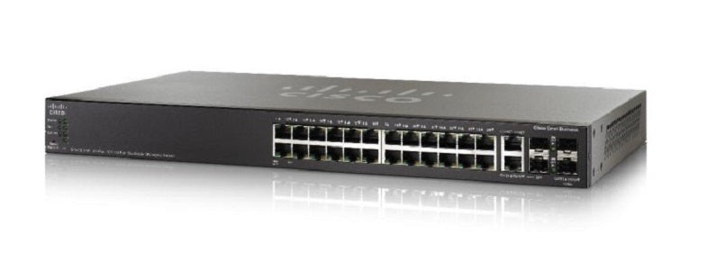 SG500X-24-K9-NA Cisco SG500X-24 Stackable Managed Switch, 24 Gigabit and 4 10Gig Ethernet SFP+ Ports Refurb)