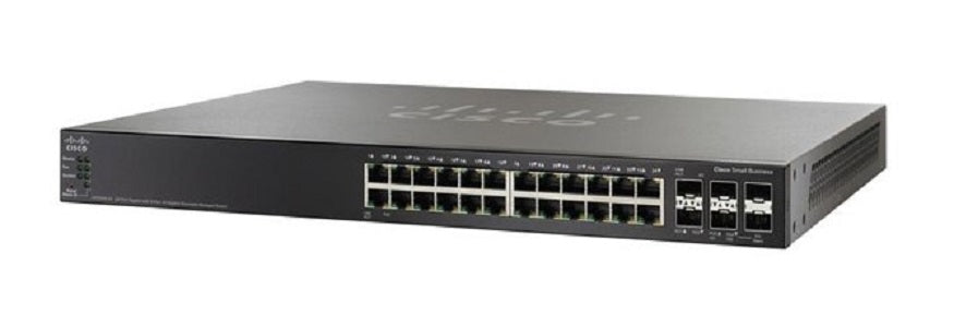 SG500X-24P-K9-NA Cisco SG500X-24P Stackable Managed Switch, 24 Gigabit and 4 10Gig Ethernet SFP+ Ports, 375 PoE (New)
