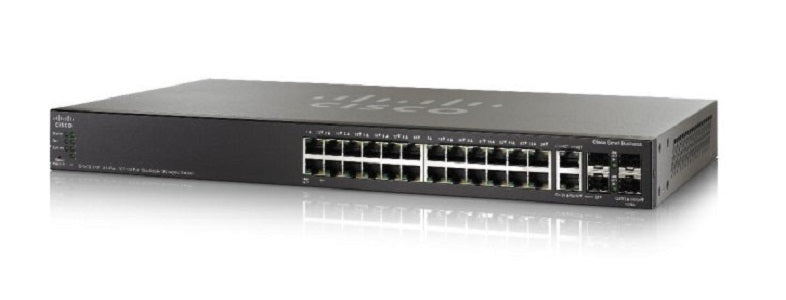 SG550X-24P-K9-NA Cisco SG550X-24P Stackable Managed Switch, 24 Gigabit PoE+ and 4 10Gig Ethernet Ports, 195w PoE (Refurb)